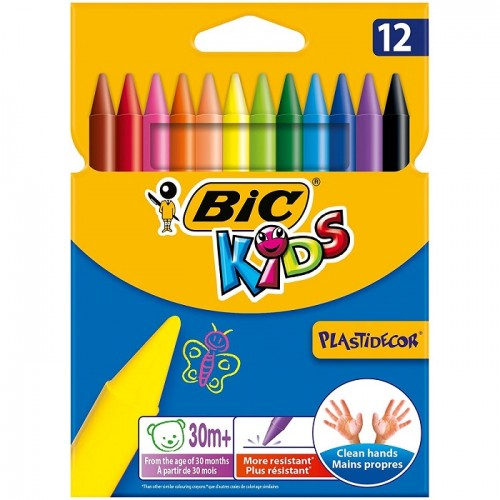 Bic Kids Pastelli Colorati Confezione da 12 Pastelli Colori Assortiti
