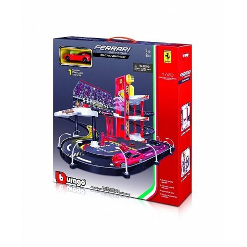 Bburago 2043178 - Garage con Circuito da Corsa per macchinine Ferrari