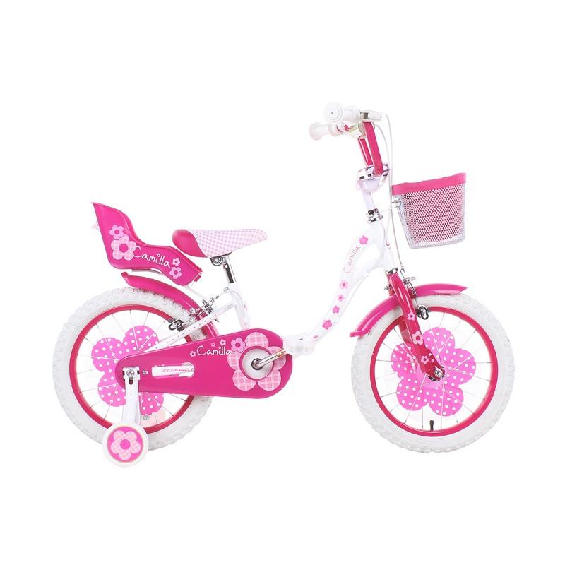 Schiano Bicicletta Camilla Taglia 14 per Bambina Rosa con Accessori