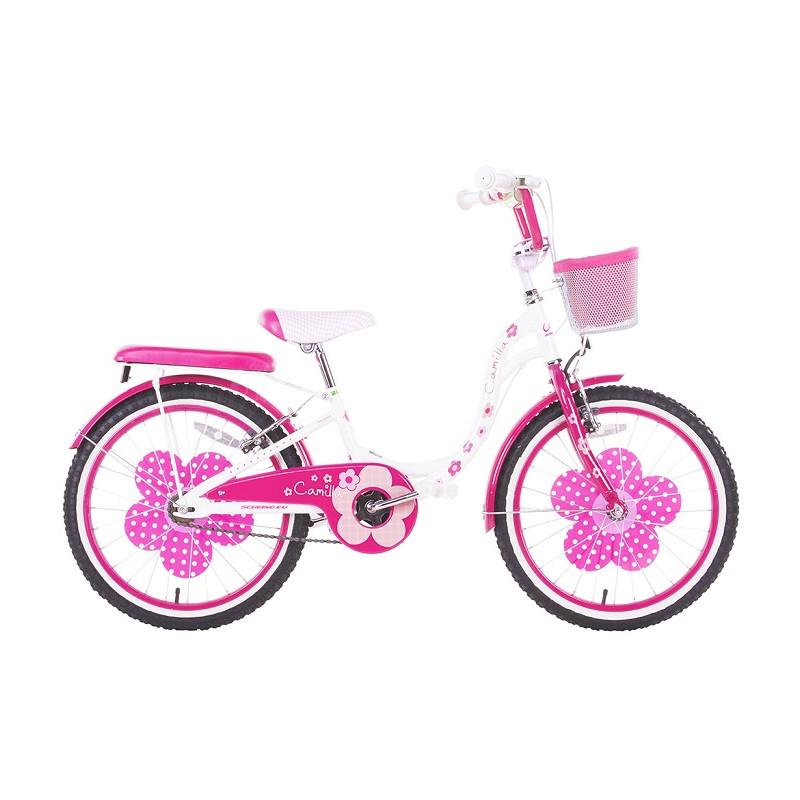 Schiano Bicicletta Camilla Taglia 20 per Bambina Rosa con Accessori