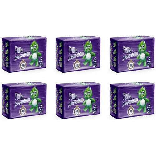 Pillo Premium XL Taglia 6 (16-30 Kg) 6 Pacchi Offerta 240 Pannolini