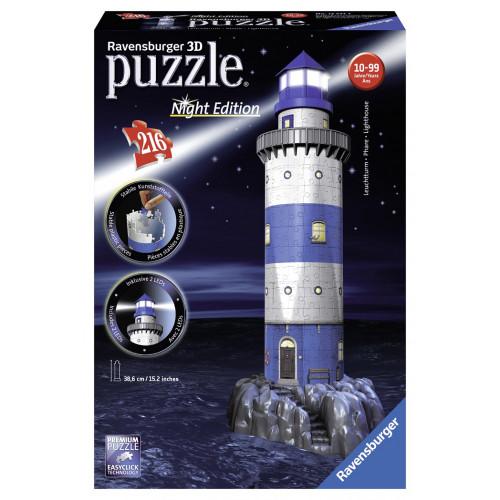 Ravensburger 125791 Puzzle 3D Edizione Speciale Faro Notte 216 Pezzi