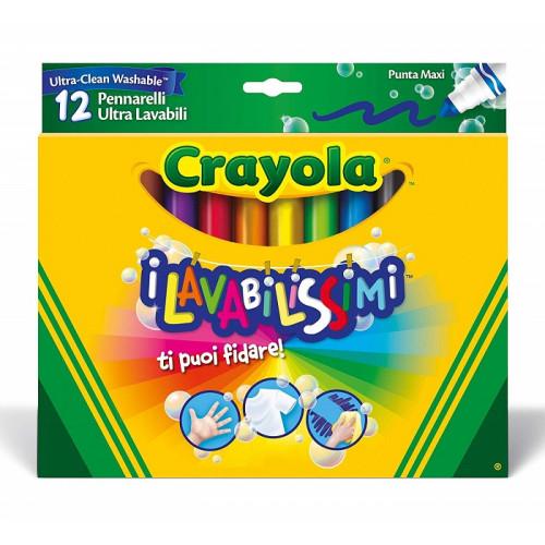Crayola I Lavabilissimi Pennarelli Ultra Lavabili Punta Maxi Colori Assortiti 12 Pezzi