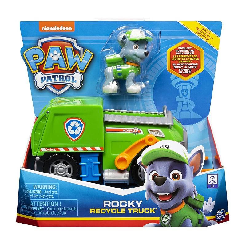 Spin Master Paw Patrol camion Raccolta di Rifiuti di Rocky con Personaggio